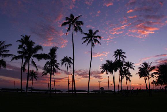 ハワイの日の出&日の入り時刻 早見表