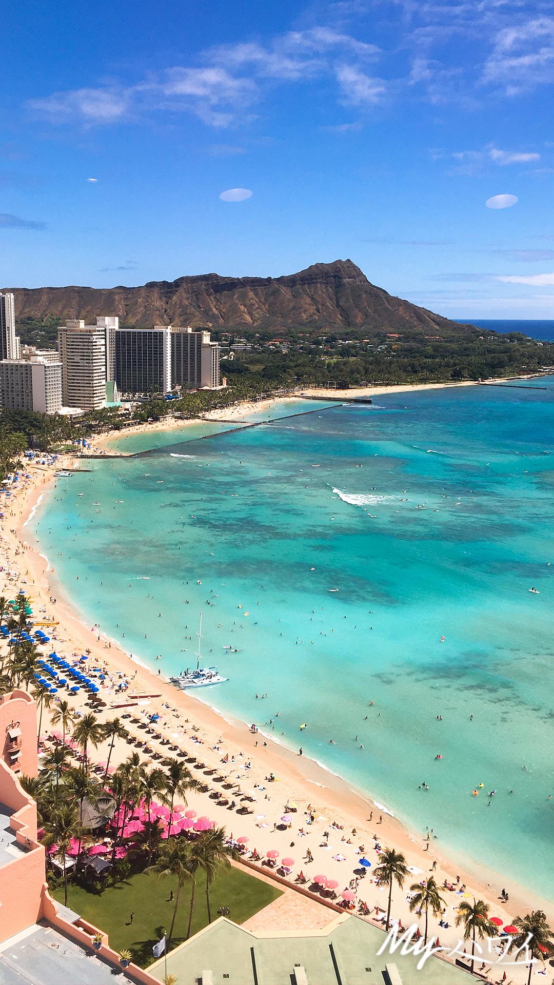 ハワイの美しい海やサンセット写真を携帯の待受けに