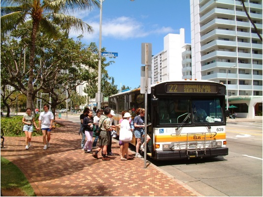 People getting onto The BUS