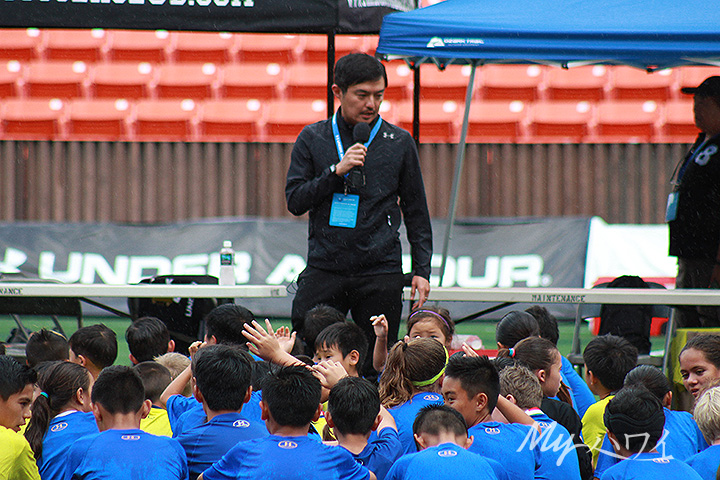 Blue United founder Takehiko Nakamura Greeting to Children
