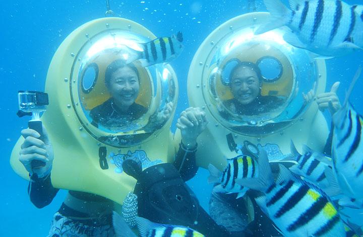 ハワイ、水中スクーター
